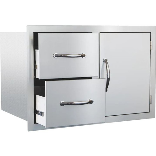 Summerset 33-Inch Stainless Steel Masonry Access Door & Double Drawer Combo - SSDC2-33M