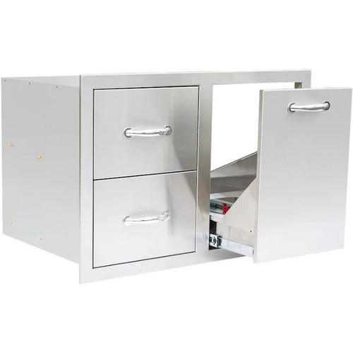 Summerset 33-Inch Stainless Steel Double Drawer & Roll-Out Propane Tank Storage Combo - SSDC2-33LP