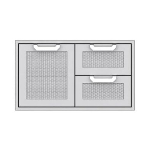 Hestan 36-Inch Double Drawer And Single Storage Door Combo - Steeletto - AGSDR36-SS