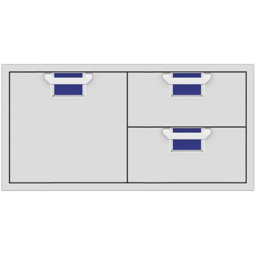 Aspire By Hestan 42-Inch Double Drawer And Single Storage Door Combo - Prince - AESDR42-BU