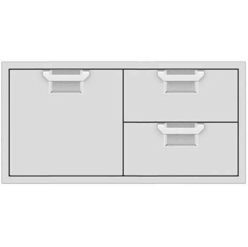 Aspire By Hestan 42-Inch Double Drawer And Single Storage Door Combo - Steeletto - AESDR42-SS