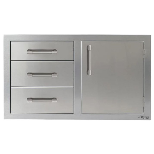 Alfresco 32-Inch Stainless Steel Right-Hinged Soft-Close Door & Triple Drawer Combo - AXE-DDC-R-SC
