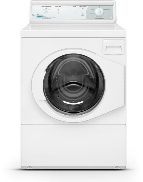 Speed Queen LFN50RSP115TW01 27 Inch Commercial Front Load Washer with Manual Homestyle Control, Balancing Technology, 1200 RPM Spin Speed, Stainless Steel Tub, Four-Compartment Soap Dispenser, Rugged Suspension System, 180° Door Swing.