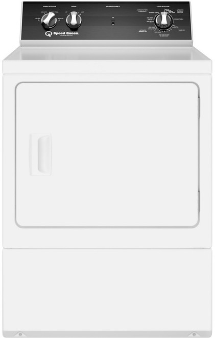 Speed Queen DR5000WE 27 Inch Electric Dryer with 4 Preset Cycles, 3 Auto Dry Cycles, End-of-Cycle Signal, Extended Tumble Setting, Reversible Door, Interior Light, ADA Compliant, 220 CFM and 7.0 cu. ft. Capacity