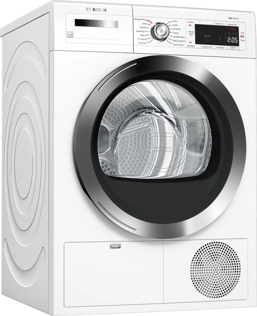 Bosch 800 Series WTG865H4UC 24 Inch Compact Condensation Smart Electric Dryer with Home Connect™, 4 Cu. Ft. Capacity, 14 Drying Cycles, 9 Options, Premium Large Touch Control Display, Reversible Door, Interior LED Drum Light, and ENERGY STAR® Certifi
