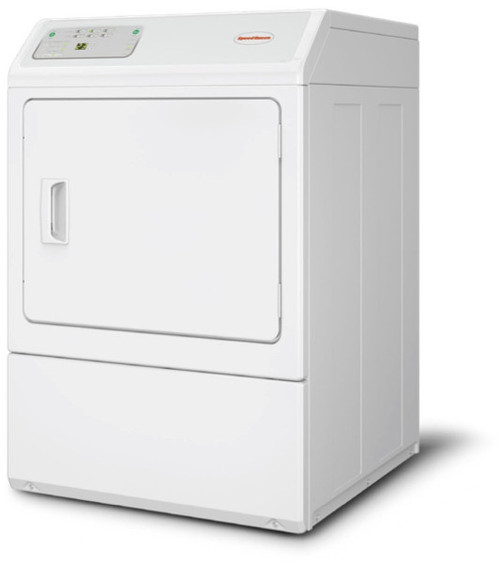 Speed Queen LDEE5BGS173TW01 27 Inch Commercial Electric Dryer with 7.0 cu. ft. Capacity, Electronic Homestyle Controls, 6 Dry Cycles, Large Door Opening of 2.06 sq. ft., Reversible Door, 220 CFM, Upfront Lint Filter, Steel Cylinder and ADA Compliant