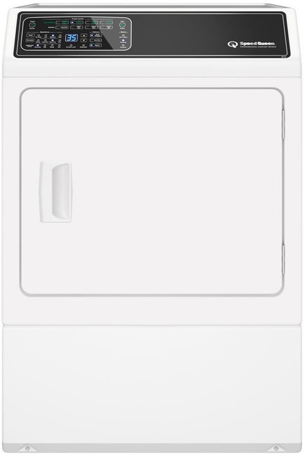 Speed Queen DF7000WE 27 Inch Electric Dryer with 7 Preset Cycles, 4 Auto Dry Cycles, Moisture Sensor, EcoDry, End-of-Cycle Signal, Extended Tumble Setting, Reversible Door, Interior Light, ADA Compliant, 220 CFM and 7.0 cu. ft. Capacity: White