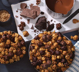 Hover - Overhead view of Hot Cocoa CaramelCrisp Mix in a kitchen scene with ingredients