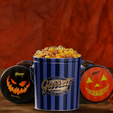 Halloween - Classic Signature Blue Tin of Garrett Mix with a Black or Orange Halloween themed Lid Decal