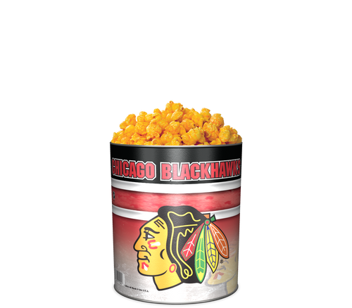 Garrett Popcorn Shops CheeseCorn in Classic Chicago Blackhawks Sport Tin