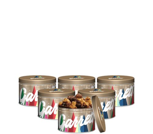6-Pack of Garrett Holiday Stocking Stuffers in Gold with Hot Cocoa CaramelCrisp Mix