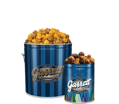 Winter Spruce Bundle - Classic Signature Blue Tin of Garrett Mix and Petite Blue Spruce Tin of Hot Cocoa CaramelCrisp Mix