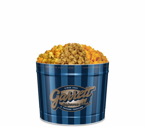 Family Signature Blue tin of Buffalo Ranch, CaramelCrisp, and CheeseCorn