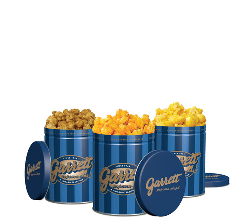 Petite Variety Pack - 3 Signature Blue Petite tins of CaramelCrisp, CheeseCorn, and Buttery popcorn