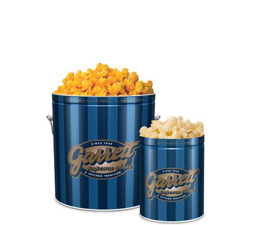 Garrett Popcorn Shops Signature Blue Classic Tin of CheeseCorn with a Signature Blue Petite Tin of KettleCorn