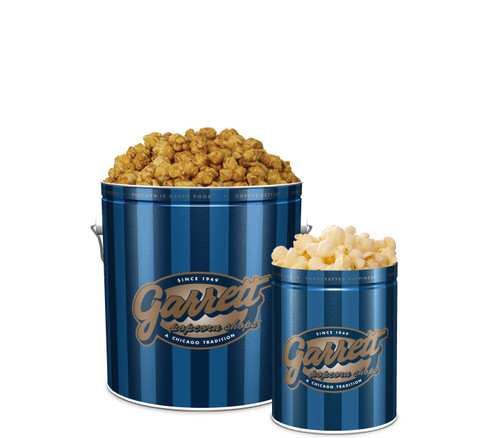 Garrett Popcorn Shops Signature Blue Classic Tin of CaramelCrisp with a Signature Blue Petite Tin of KettleCorn