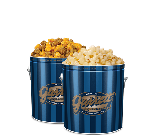 Garrett Popcorn Shops Signature Blue Classic Tin of Garrett Mix with a Signature Blue Classic Tin of KettleCorn