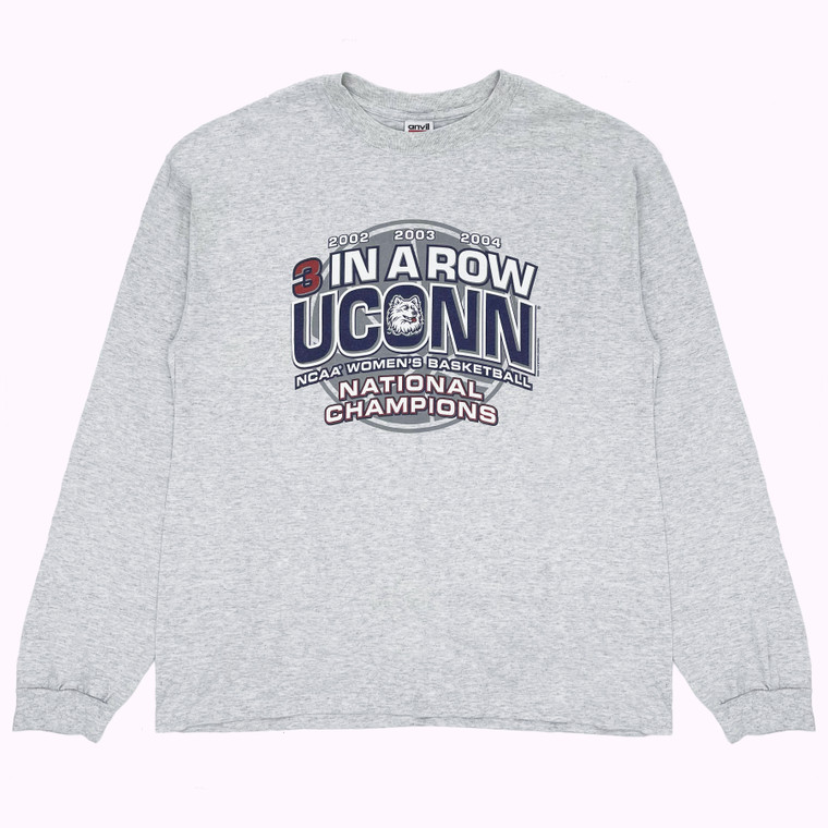 Early 2000s 3 In A Row UConn NCAA Womens Basketball National Champions Long Sleeve