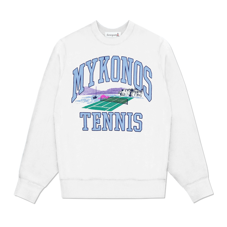 Mykonos Tennis Crewneck - White