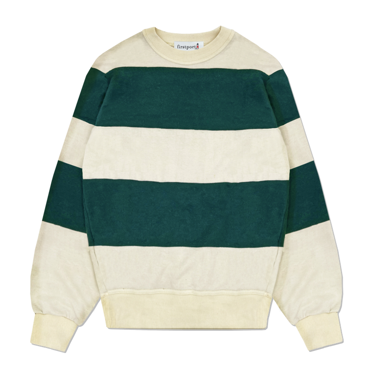 Marina Striped French Terry Crewneck - Forest/Cream