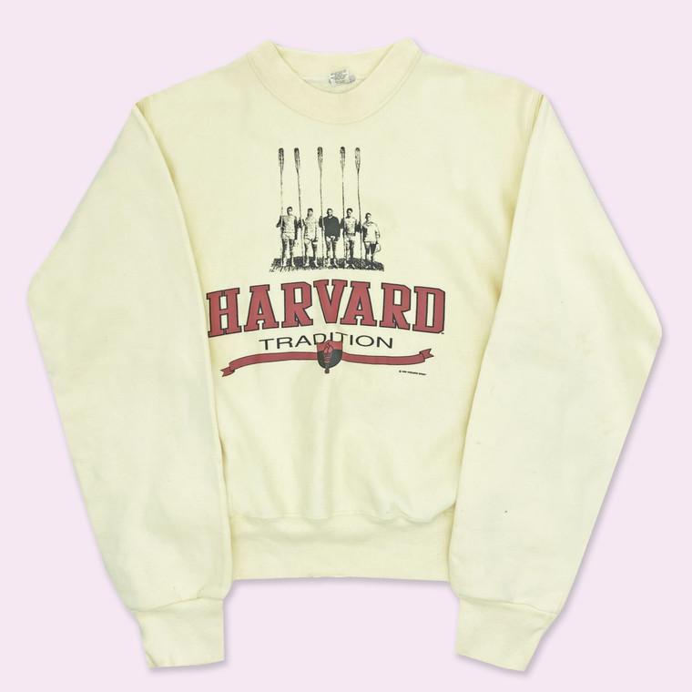 Vintage Late 80s Harvard Crew Crewneck in Cream
