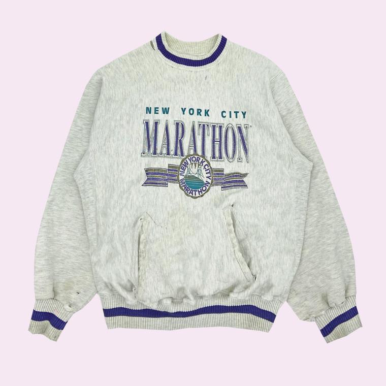 Vintage Early 90s New York City Marathon Distressed Crewneck Sweatshirt
