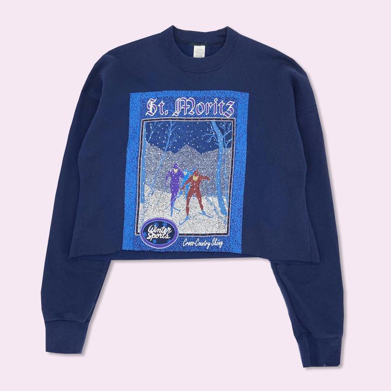 Vintage 90's St. Moritz Cross-Country Ski Crewneck Sweatshirt
