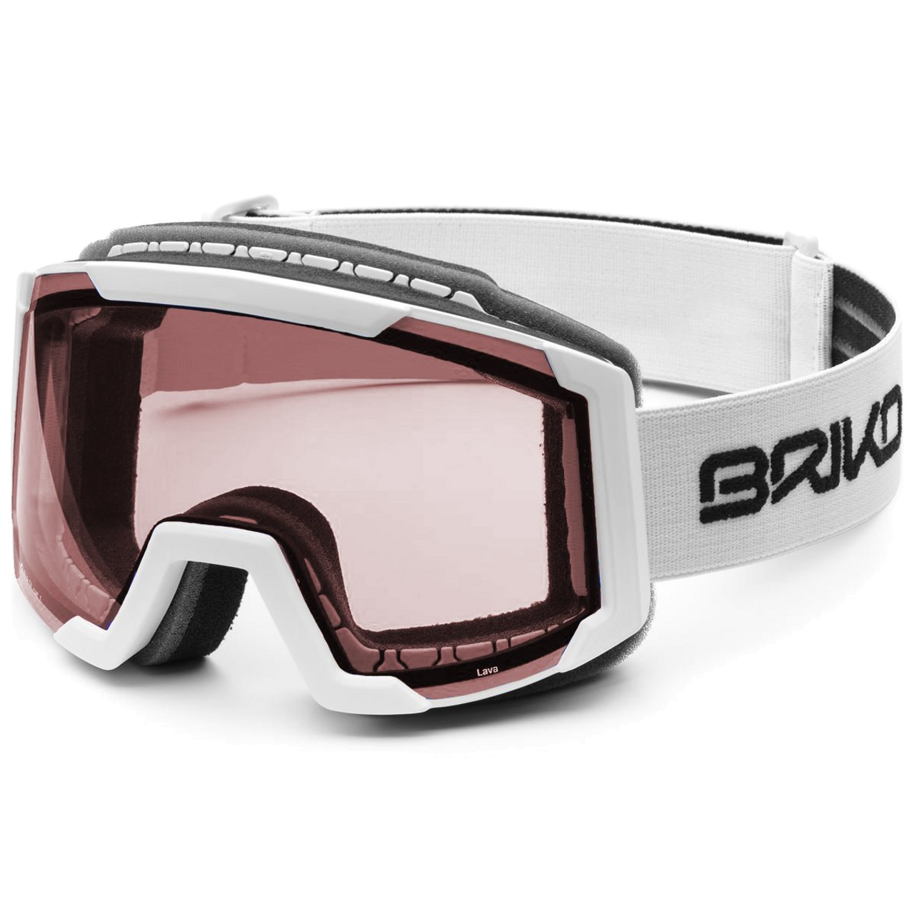 49962161c Briko Lava Matt White Goggles 2019 (pink lens) - Gear West Ski and Run