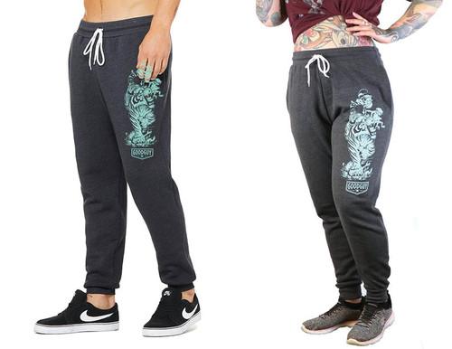 James Tex- Kappa and Tiger Unisex Sweatpants- Mint on Heather Grey