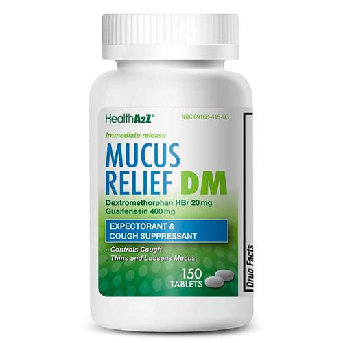 HealthA2Z Mucus Relief DM, Dextromethorphan HBr 20mg, Guaifenesin 400mg, 150 Coated Tablets