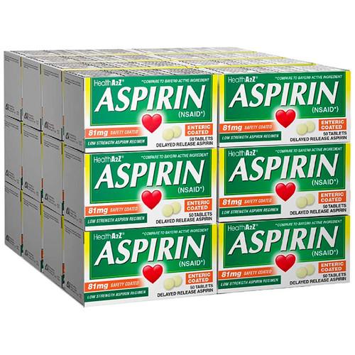 HealthA2Z Aspirin 81mg Low Strength, 24*50 Tablets (1,200 Tablets Total)