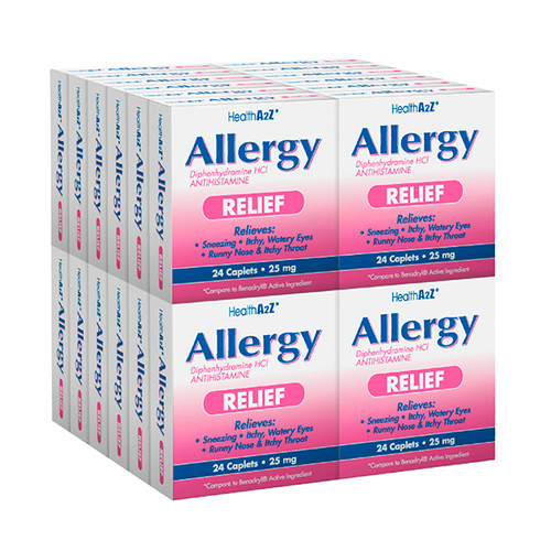 HealthA2Z Allergy Relief, Diphenhydramine 25mg, 24*24 Caplets (576 Tablets Total)