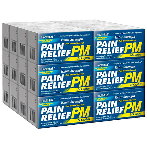 HealthA2Z Extra Strength Pain Relief PM, 24*24 Caplets (576 Caplets Total)