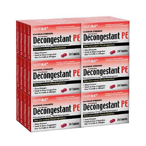 HealthA2Z Decongestant PE, Phenylephrine 10 mg, 24*24 Tablets (576 Tablets Total)