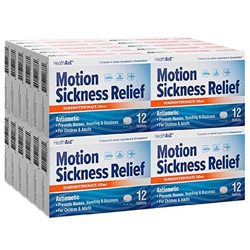 HealthA2Z Motion Sickness Relief 50mg, 24*12 Tablets (288 Tablets Total)