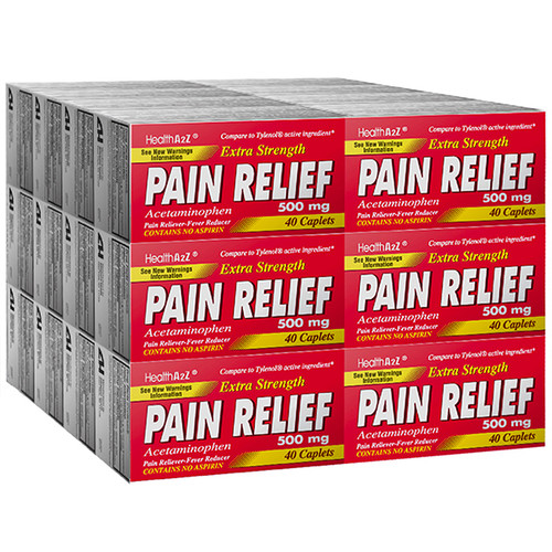 HealthA2Z Pain Relief Extra Strength, Acetaminophen 500mg, 24*40 Caplets (960 Tablets Total)