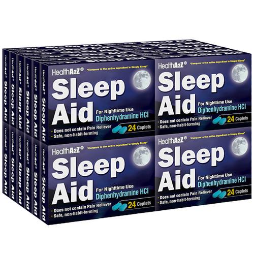 HealthA2Z Sleep Aid, Diphenhydramine HCl 25mg, 24*24 Caplets (576 Caplets Total)