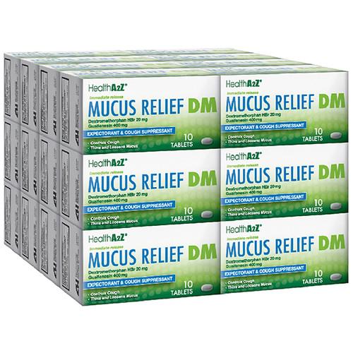 HealthA2Z Mucus Relief DM, Dextromethorphan HBr 20mg, Guaifenesin 400mg, 24*10 Caplets (240 Caplets Total)