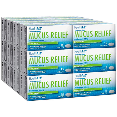 HealthA2Z Mucus Relief, Guaifenesin 400mg, 24*15 Tablets (360 Tablets Total)