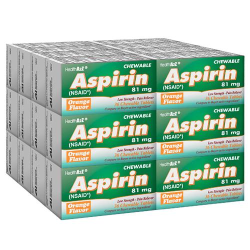 HealthA2Z Aspirin 81mg NSAID, 24*36 Chewable Tablets (864 Tablets Total)