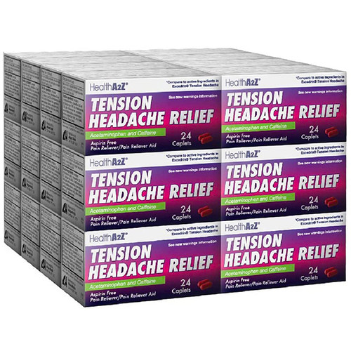 HealthA2Z Tension Headache Relief, 24*24 Caplets (576 Caplets Total)