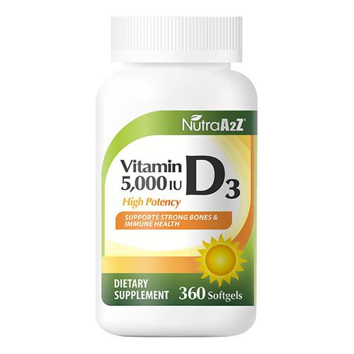 NutraA2Z Vitamin D3 5000iu (125mcg)