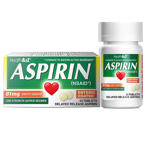 HealthA2Z Aspirin 81mg Low Strength, 50 Tablets, Compare to Bayer Active Ingredients ( 1 Pack, 3 Packs& 6 Packs)