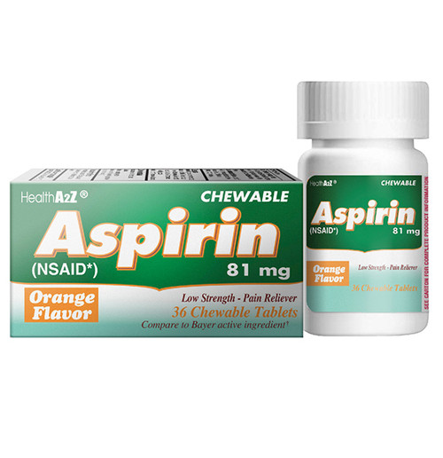 HealthA2Z Aspirin 81mg NSAID, Compare to Bayer Active Ingredients, 36 Chewable Tablets, (1 Pack, 3 Packs & 6 Packs)