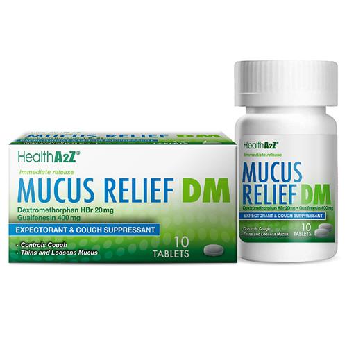 HealthA2Z Mucus Relief DM, Compare to Mucinex DM Dextromethorphan HBr 20mg, Guaifenesin 400mg, 10 Caplets (1 Pack, 3 Packs & 6 Packs)