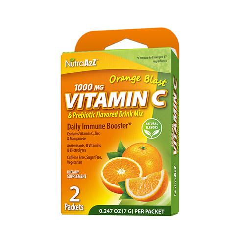NutraA2Z 1000mg Vitamin C Prebiotic Drink Mix, Compare to Emergen-C Ingredients (1 Pack, 3 Packs & 6 Packs)