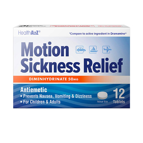 HealthA2Z Motion Sickness Relief 50mg (1 Pack, 3 Packs & 6 Packs)