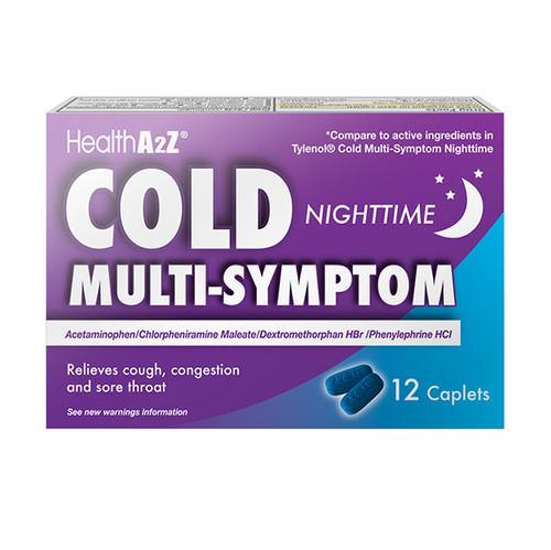 HealthA2Z Cold Multi-Symptom Nighttime, 1 Pack of 12 Caplets (1 Pack, 3 Packs & 6 Packs)