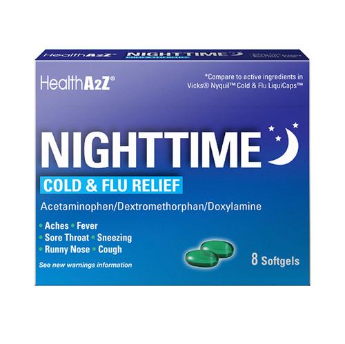 HealthA2Z Nighttime Cold-Flu Relief, 8 Softgels (1 Pack, 3 Packs & 6 Packs)