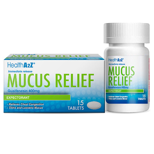 HealthA2Z Mucus Relief, Guaifenesin 400mg, 1 Pack of 15 Tablets , Immediate Release, Expectorant (1 Pack, 3 Packs& 6 Packs)